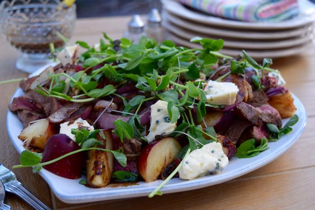 Steak-roasted-peach-summer-salad-recipe-lucyloves-east-sheen-village