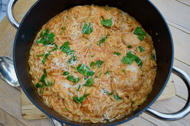 One Pot Chicken with Orzo and Parmesan recipe from Lucy Loves Food Blog