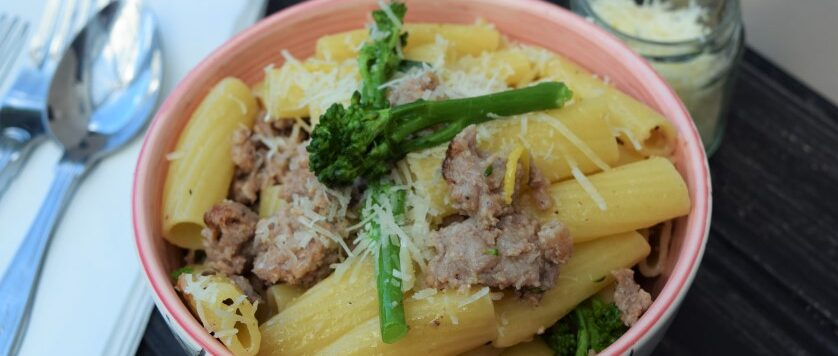 Pasta-broccoli-lemon-sausage-lucyloves-east-sheen-village