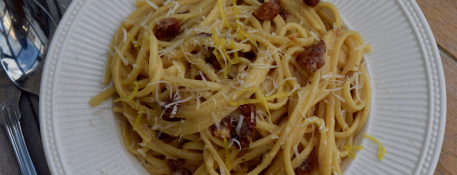 Lemony Spaghetti Carbonara recipe from Lucy Loves Food Blog