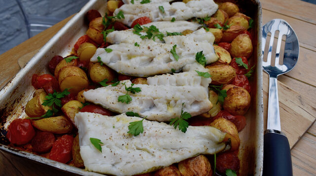 Cod and Chorizo with Chimichurri recipe from Lucy Loves Food Blog