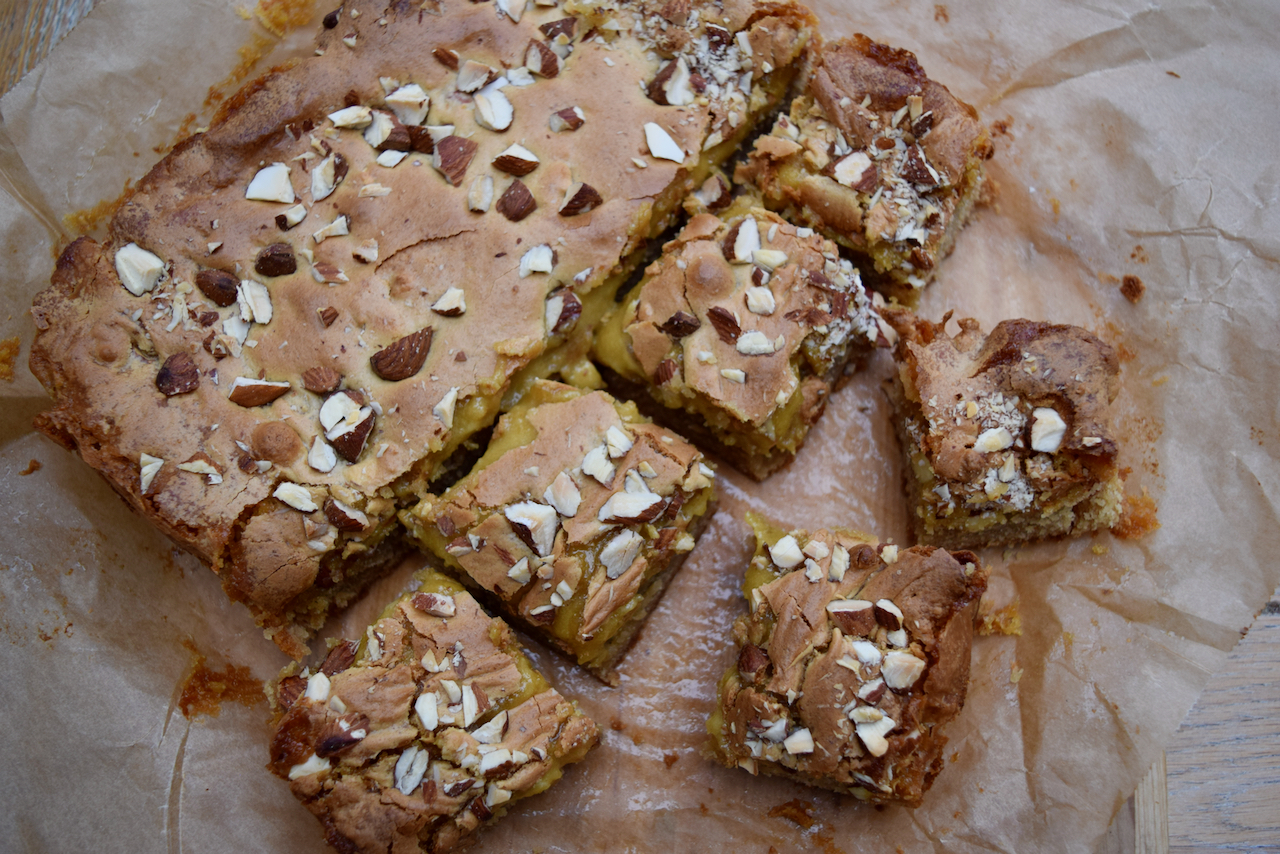 Marzipan Cookie Bars recipe from Lucy Loves Food Blog