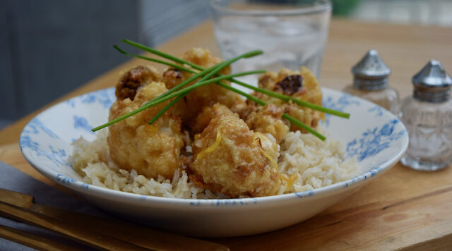 Crispy Cauliflower with Lemon Sauce recipe from Lucy Loves Food Blog