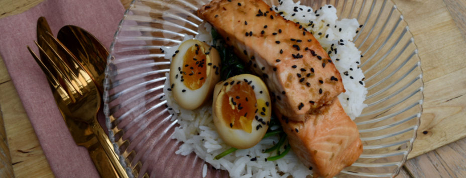 Maple Soy Salmon with Soy Eggs recipe from Lucy Loves